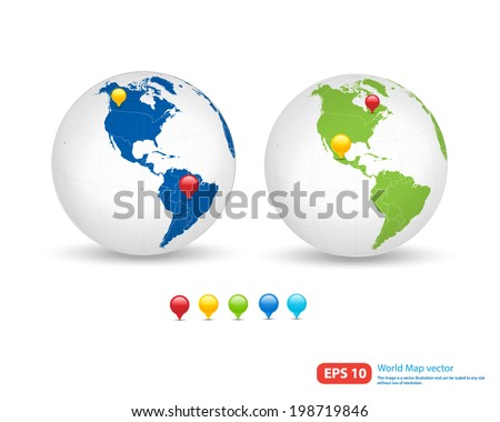 New world map globe pin marker vector de stock198719846 shutterstock new world map with globe and pin marker location vector format vector format gumiabroncs Images