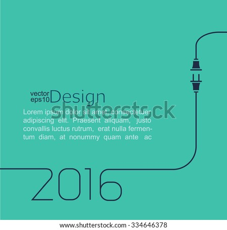2016 - New year. Abstract line vector illustration with wire plug and socket. Concept of connection, new business, start up. Flat design. - stock vector