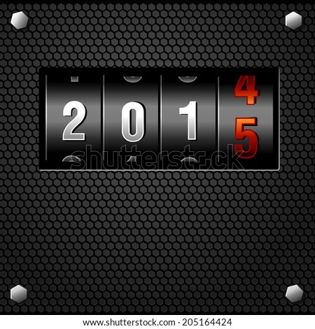 2015 New Year Analog Counter on metal plate detailed vector - stock vector
