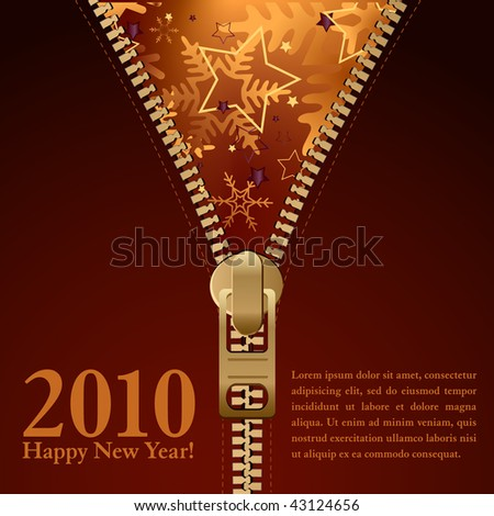 2010 new year background design, zipper style - stock vector