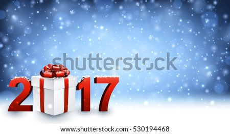2017 New Year background with gift and snow. Vector illustration.