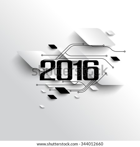 2016 new year banner celebration, circuit board futuristic background illustration - stock vector