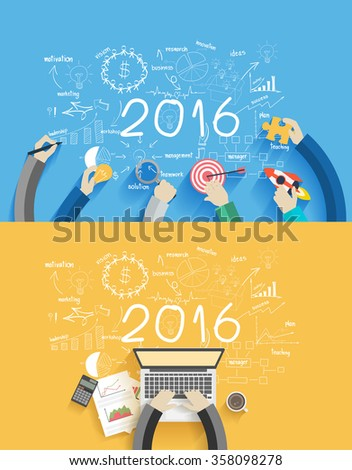 2016 new year business success working on laptop computer, Flat design concepts for drawing analysis and planning, consulting, team work, project management, brainstorming, research and development - stock vector
