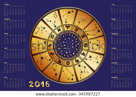 2016 new year Calendar.Horoscope Circle with Zodiac sign.Constellation,stars ,astrology symbols.Blue  background,gold silhouette.Holiday Vector  Illustration.