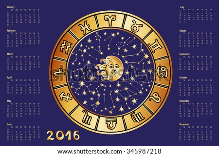 2016 new year Calendar.Horoscope Circle with Zodiac sign.Constellation,stars ,sun and moon,astrology symbols.Blue  background,gold silhouette.Holiday Vector  Illustration.