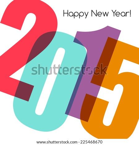 2015 New Year card - stock vector