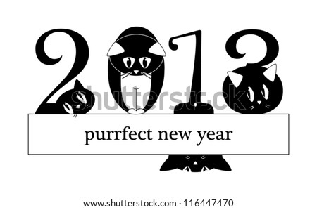 2013 New Year Card - cats instead of digits - original funny vector llustration - stock vector