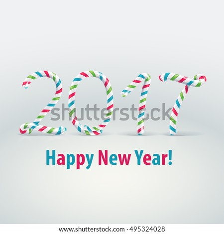 Happy New Year Number 2017 Made Stock Vector 495315799 - Shutterstock