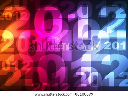 2012 New Year card neon lights shining on the dark vector background - stock vector