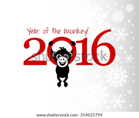 2016 New Year card or background with monkey. Happy New Year. Merry Christmas. Vector illustration Year of the monkey!