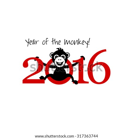 2016 New Year card or background with monkey. Happy New Year. Merry Christmas. Vector illustration. Year of the monkey!