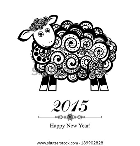 2015 new year card with blue sheep. vector illustration  - stock vector