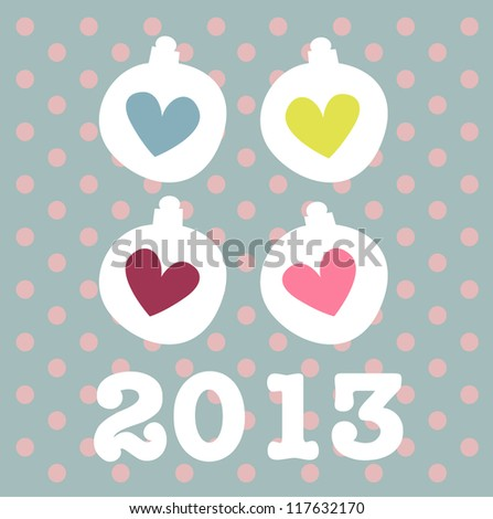2013 New Year card with cute hearts - stock vector