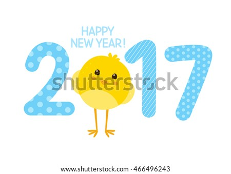 2017 New Year concept with cute chicken
