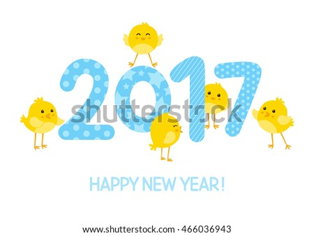 2017 New Year concept with cute chickens