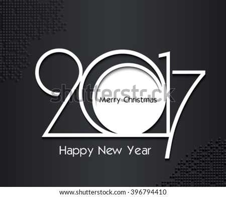 2017 new year creative design in black and white colors on dark background for your greetings card, flyers, invitation, posters, brochure, banners, calendar