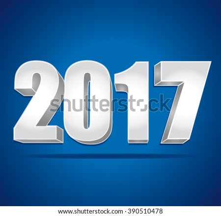 2017 New Year 3d silver numbers on a blue background. Vector illustration.