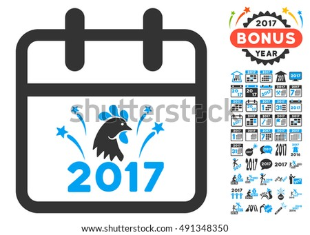 2017 New Year Day pictograph with bonus 2017 images. Vector illustration style is flat iconic symbols, white background.