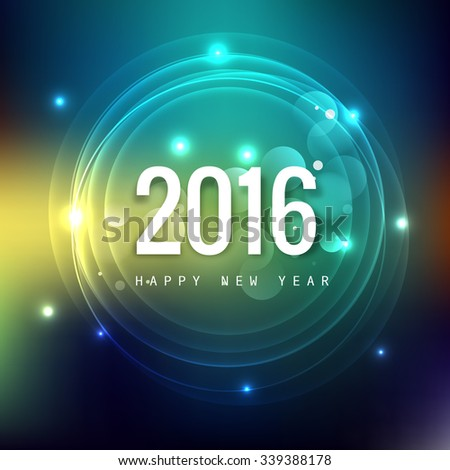 2016 new year glowing colorful background - stock vector