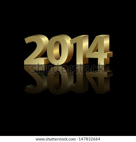 2014 New Year golden number on the black background, vector illustration - stock vector