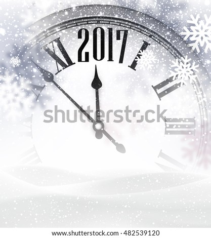 2017 New Year gray background with clock and snow. Vector illustration.