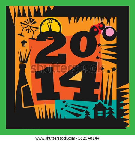 New Year 2014 Greeting Card, vector illustration - stock vector