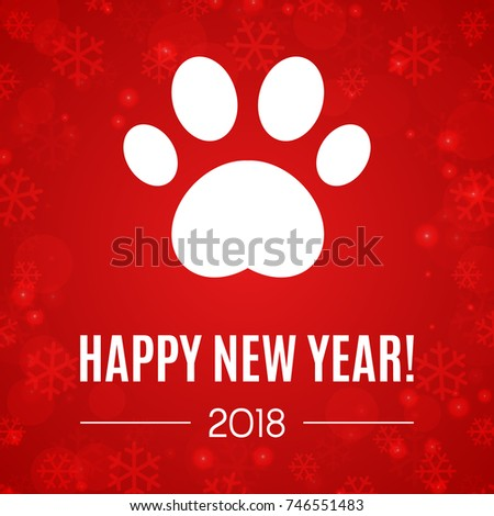 2018 new year greeting card paw stock vector hd royalty free 2018 new year greeting card with paw print vector illustration brochure design template colourmoves