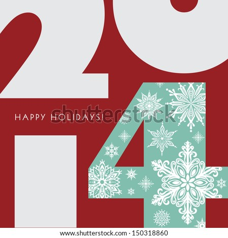 2014 New Year Greetings Card. Happy Holidays. Stylish design. Vector EPS 10 illustration.  - stock vector