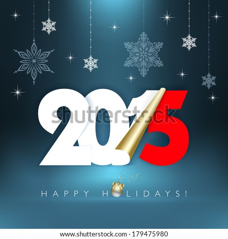 2015 new year. Happy holidays background with snowflakes. Vector EPS 10 illustration.  - stock vector