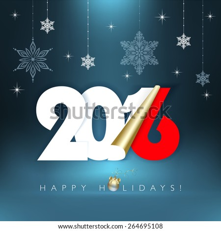 2016 new year. Happy holidays background with snowflakes. Vector illustration and photo image available.   - stock vector