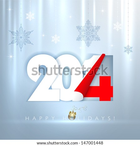 2014 new year. Happy holidays shimmered background with snowflakes. Vector EPS 10 illustration.   - stock vector