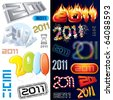 2011 new year labels, icons, tags and stamps - set of conceptual vector design elements - stock vector