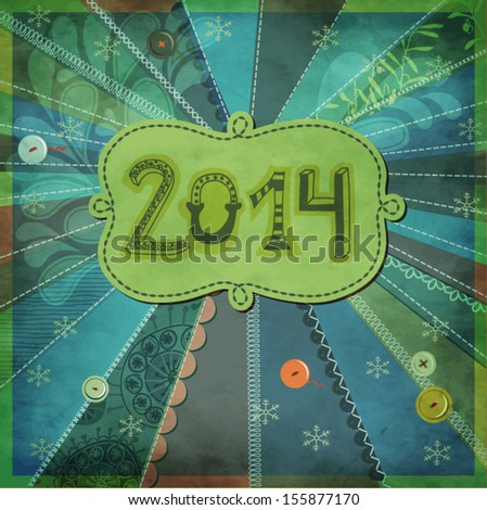2014, New Year - New Year poster, with doodle numbers and label, hand drawn and sewn on textured patchwork background, with buttons, frilly borders and various stitches - stock vector
