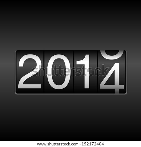 2014 New Year Odometer - New Year 2014 design - odometer style.  Uses simple gradients. - stock vector
