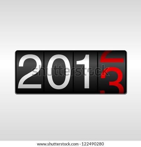 2013 New Year Odometer - New Year 2013 design - odometer style with white and red numbers.  Uses simple gradients. - stock vector