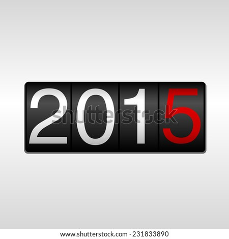 2015 New Year Odometer - white and red numbers from 2014 to 2015, on white background.  EPS8 file. - stock vector
