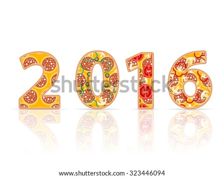 2016 new year on a white background. - stock vector