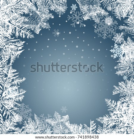 2018 New Year on ice frosted background. Global colors. One editable gradient is used for easy recolor