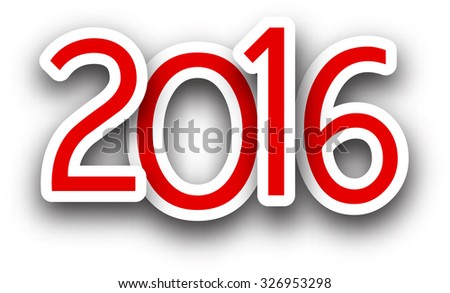 2016 New Year red sign. Vector paper illustration.