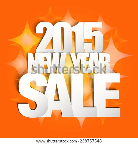 2015 New Year Sale Paper Folding Design - stock vector