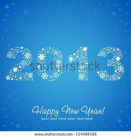 2013 New Year shiny invitation postcard with snowflakes, stars and glitter. Vector illustration - stock vector