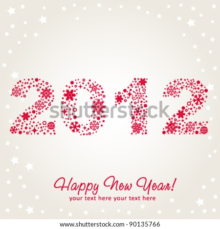 2012 New Year shiny invitation postcard with snowflakes, stars and glitter. Vector illustration - stock vector