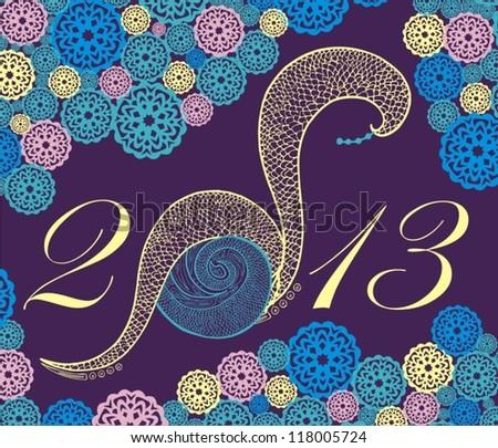 2013 new year snake - stock vector