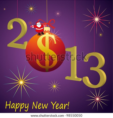 2013 New Year symbols with Santa Claus and red US Dollar ball - stock vector