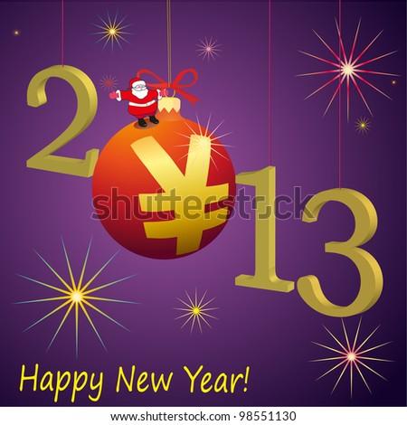 2013 New Year symbols with Santa Claus and red Yuan ball - stock vector