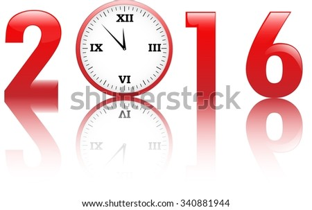 2016 new year title with clocks. Vector illustration - stock vector