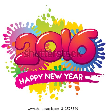 2016 New Year vector card - stock vector