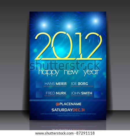 2012 New Year Vector Flyer Template - stock vector