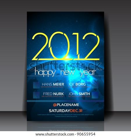 2012 New Year Vector Flyer Template - stock vector