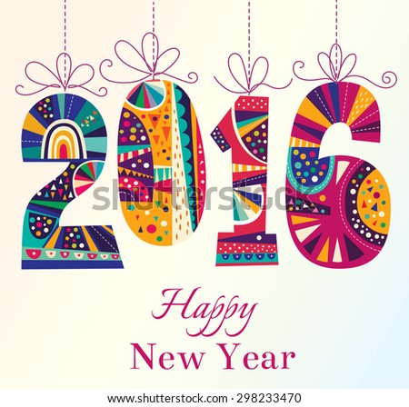 2016 New Year. Vector greeting card - stock vector